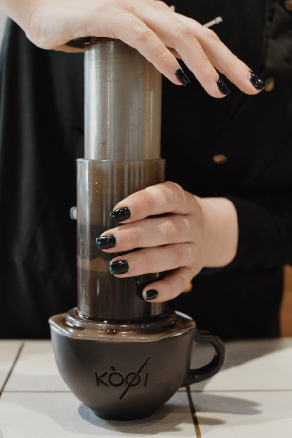 Aeropress in use